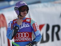 Tina Maze of Slovenia reacts after the Super G part of the World Cup Women's super combined race in Altenmarkt-Zauchensee January 12, 2014. REUTERS/Leonhard Foeger