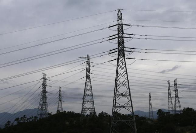 Power transmission towers are seen near the plant of new Shin Kori No. 3 reactor and No. 4 reactor of state-run utility Korea Electric Power Corp (KEPCO) in Ulsan, about 410 km (255 miles) southeast of Seoul, September 3, 2013. REUTERS/Lee Jae-Won