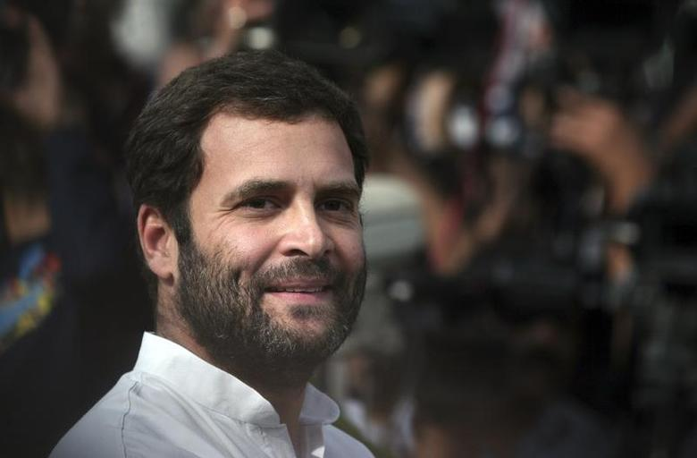 Rahul Gandhi, a lawmaker and son of India's ruling Congress party chief Sonia Gandhi, smiles as he speaks with the media in New Delhi March 6, 2012. REUTERS/Parivartan Sharma