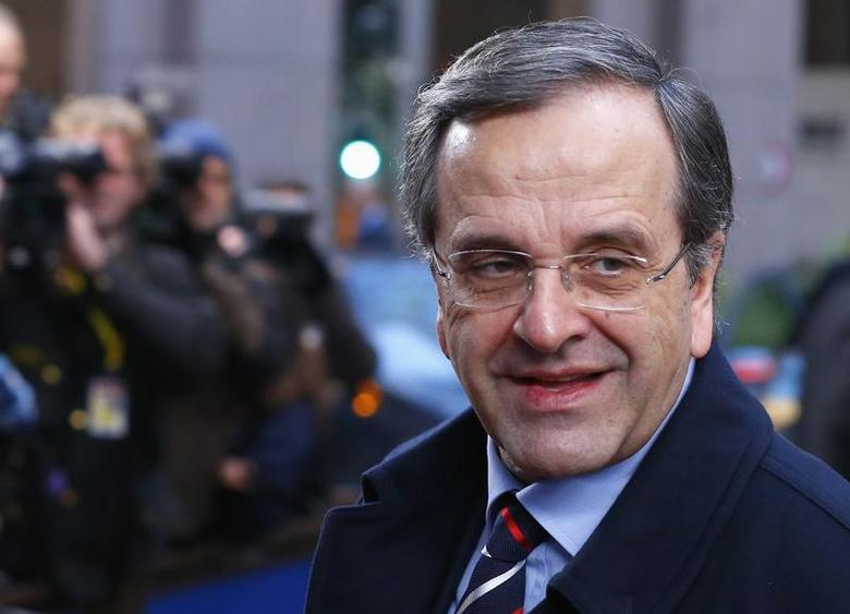 Greece's Prime Minister Antonis Samaras arrives at a European Union leaders summit at the EU council headquarters in Brussels December 20, 2013. REUTERS/Yves Herman