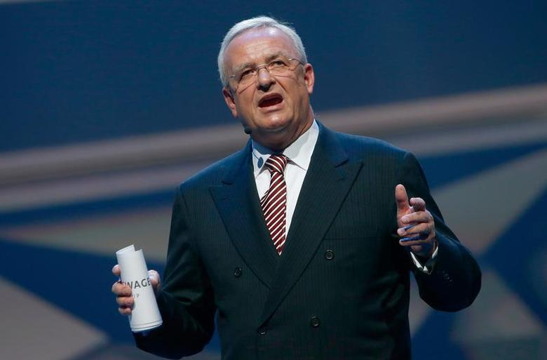 Volkswagen CEO, Martin Winterkorn speaks during the Volkswagen group night at the Frankfurt motor show September 9, 2013. The world's biggest auto show is open to the public September 14 -22. REUTERS/Ralph Orlowski
