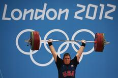 Sarah Robles of the U.S. competes in the women's +75kg group A clean and jerk weightlifting competition at the ExCel venue during the London 2012 Olympic Games August 5, 2012. REUTERS/Damir Sagolj