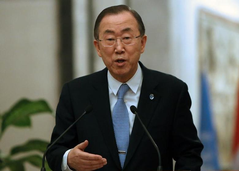 United Nations Secretary-General Ban Ki-moon speaks during a joint news conference with Iraq's Prime Minister Nuri al-Maliki in Baghdad January 13, 2014. REUTERS/Ali al-Saadi/Pool