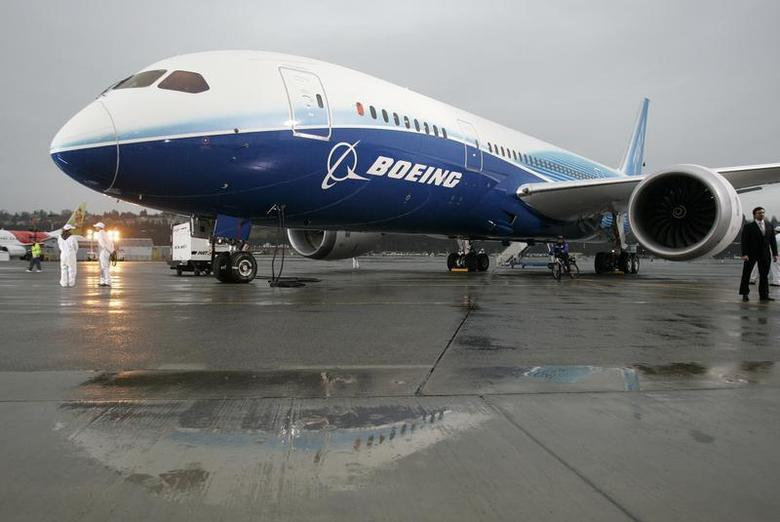 The Boeing 787 Dreamliner sits on the tarmac at Boeing Field in Seattle, Washington after its maiden flight, in this December 15, 2009 file photograph. REUTERS/Robert Sorbo/Files