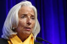 La directrice générale du Fonds monétaire international (FMI), Christine Lagarde, a déclaré que l'institution s'attendait à une poursuite de l'accélération de la croissance cette année, tout en ajoutant qu'elle devrait rester en retrait par rapport à son potentiel d'environ 4%. /Photo prise le 12 octobre 2013/REUTERS/Jonathan Ernst
