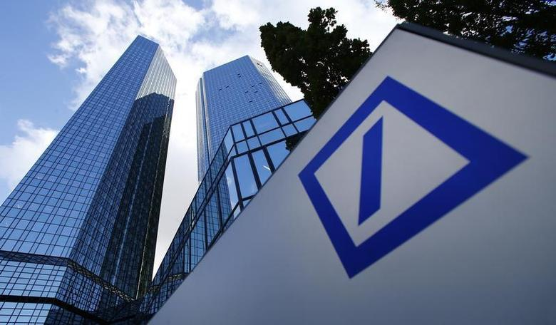 The headquarters of Deutsche Bank are pictured in Frankfurt October 29, 2013. Deutsche Bank posted a 98 percent drop in quarterly pre-tax profit to 18 million euros (15.4 million pounds), below the lowest expectations, weighed by a fall in trading income and a 1.2 billion euros increase in litigation provisions. REUTERS/Ralph Orlowski