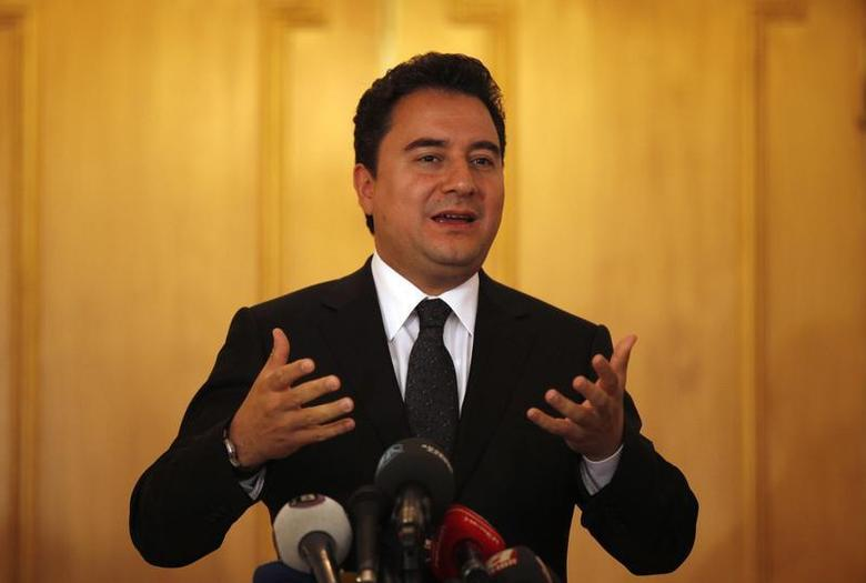 Turkey's Deputy Prime Minister Ali Babacan talks to the media following his speech at the G-20 Conference on Commodity Price Volatility in Istanbul September 13, 2011. REUTERS/Murad Sezer