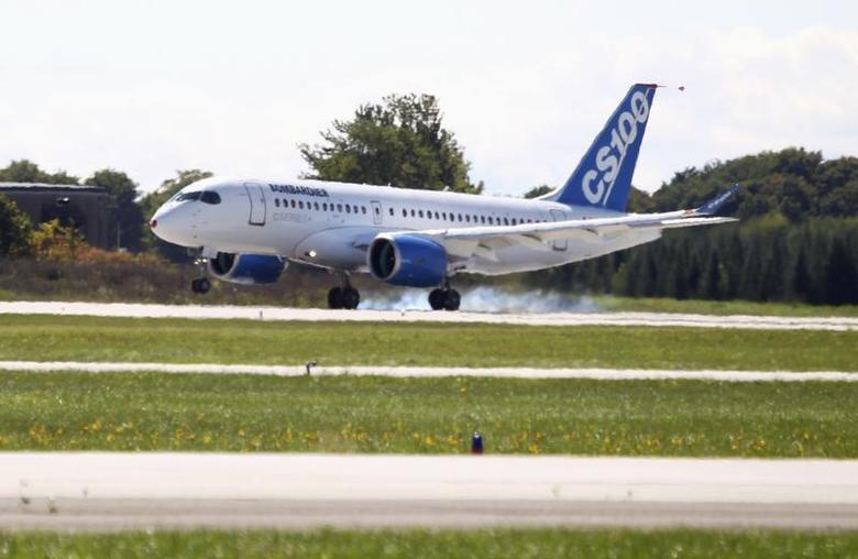 Bombardier's CSeries aircraft lands after its first test flight in Mirabel, Quebec September 16, 2013. REUTERS/Christinne Muschi