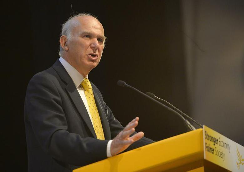 Britain's Business Secretary Vince Cable speaks at the Liberal Democrats autumn conference in Glasgow, Scotland September 16, 2013. REUTERS/Russell Cheyne