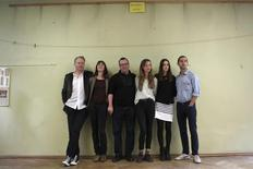 Actors Stellan Skarsgard, Charlotte Gainsbourg, director Lars Von Trier, actors Mia Goth, Stacy Martin and Shia LaBeouf (L-R) pose on the film set of 'Nymphomaniac' at a former primary school in Cologne September 20, 2012. REUTERS/Ina Fassbender
