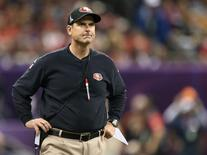 San Francisco 49ers head coach Jim Harbaugh looks on from the sidelines in the NFL Super Bowl XLVII football game against the Baltimore Ravens in New Orleans, Louisiana, February 3, 2013. REUTERS/Sean Gardner