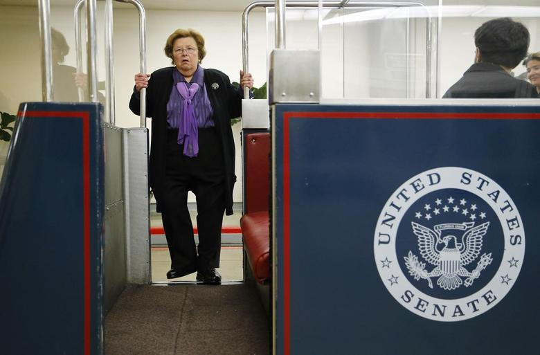 U.S. Senator Barbara Mikulski (D-MD) boards the subway to the senate office buildings at the U.S. Capitol in Washington, January 15, 2014. REUTERS/Jonathan Ernst