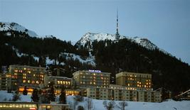 A night view shows the Kulm Hotel in the Swiss mountain resort of St. Moritz January 24, 2008. REUTERS/Arnd Wiegmann