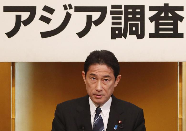 Japan's Foreign Minister Fumio Kishida gives a speech during a seminar in Tokyo January 17, 2014. Kishida spoke about Japan's diplomacy for 2014. REUTERS/Yuya Shino