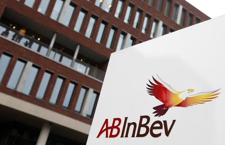 View of Anheuser-Busch InBev logo outside the brewery headquarters in Leuven February 27, 2013. REUTERS/Francois Lenoir