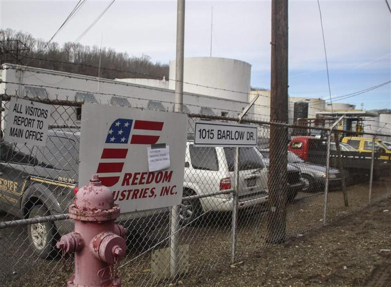 The Freedom Industries chemical plant is shown after a leak at the facility sent chemicals into the Elk River near Charleston, West Virginia in this file photo taken January 10, 2014. REUTERS/Lisa Hechesky/Files