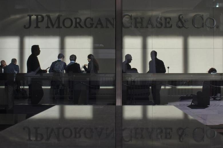 The lobby of JP Morgan headquarters is photographed through its front doors in New York May 11, 2012. REUTERS/Eduardo Munoz