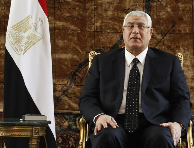 Egypt's interim President Adly Mansour attends a meeting with General Abdel Fattah al-Sisi, Foreign Minister Nabil Fahmy, Russia's Foreign Minister Sergei Lavrov and Defence Minister Sergei Shoigu (not pictured) at El-Thadiya presidential palace in Cairo, November 14, 2013. REUTERS/Amr Abdallah Dalsh