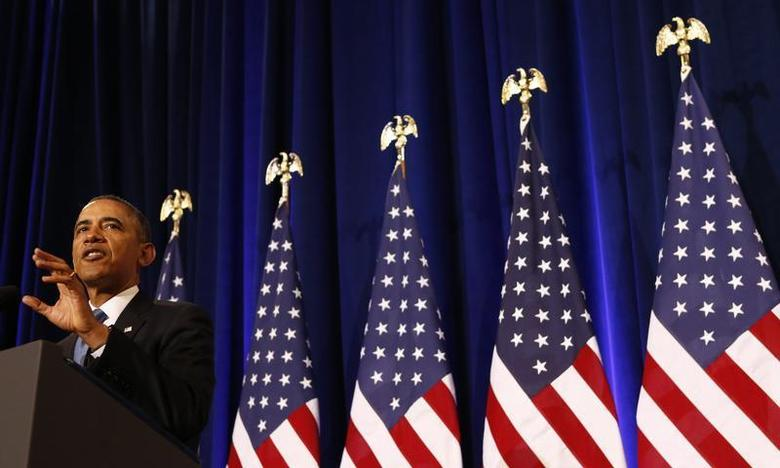 U.S. President Barack Obama speaks about the National Security Agency from the Justice Department in Washington January 17, 2014. REUTERS/Kevin Lamarque