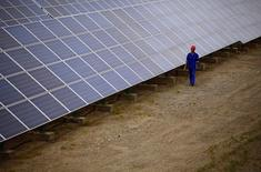 A worker inspects solar panels at a solar farm in Dunhuang, 950km (590 miles) northwest of Lanzhou, Gansu Province September 16, 2013. 26.REUTERS/Carlos Barria