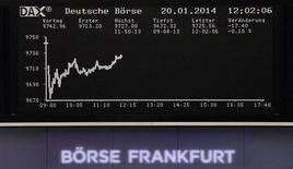 La curvatura de precios del índice DAX en un monitor ubicado en la bolsa alemana en Fráncfort, ene 20 2014. Las acciones europeas cerraron en baja el lunes en una sesión con pocos negocios, retrocediendo desde máximos de cinco años y medio tras una sorpresiva pérdida trimestral de Deutsche Bank que llevó a los inversores a recoger beneficios en el sector bancario. REUTERS/Remote/Stringer