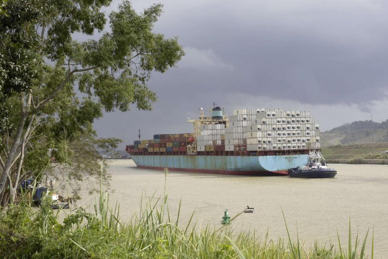A cargo ship is seen at the Panama Canal in Panama City January 8, 2014. REUTERS/Carlos Jasso