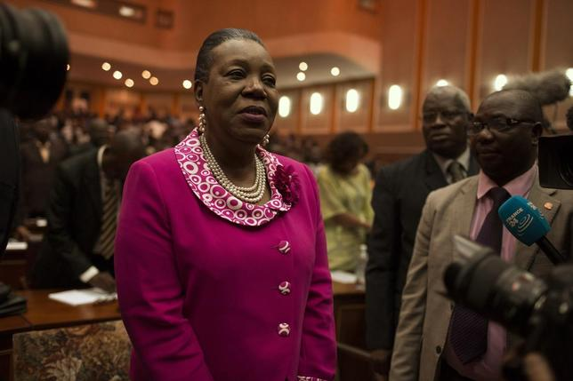 Catherine Samba-Panza reacts after she was elected as Central African Republic's interim president at the national assembly in Bangui January 20, 2014. REUTERS/Siegfried Modola