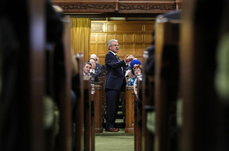 Canada's Agriculture Minister Gerry Ritz speaks during Question Period in the House of Commons on Parliament Hill in Ottawa April 16, 2013. REUTERS/Chris Wattie