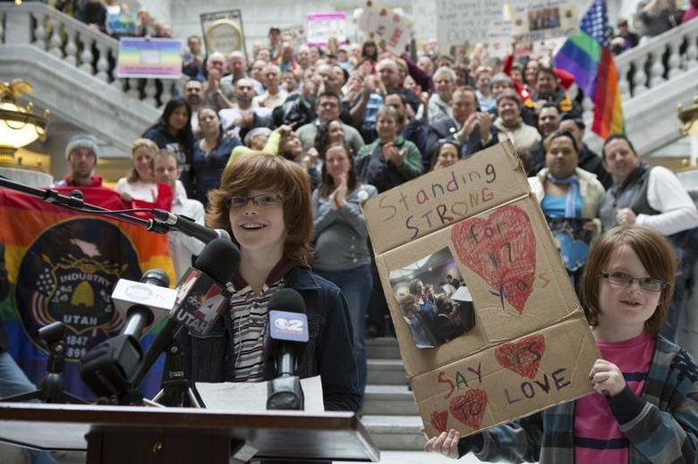 Brothers Riley (L) and Casey Hackford-Peer speak during a rally supporting same-sex marriage at the state capitol in Salt Lake City, Utah January 10, 2014. The boy's mothers Kim and Ruth were married on December 20, 2013. REUTERS/Sallie Dean Shatz