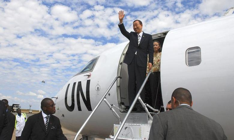 U.N. Secretary General Ban Ki-moon waves as he arrives at the Kamuzu International Airport in the Malawi capital Lilongwe May 29, 2010, on his mission to pursuade Malawi's president to take a stand on Malawi homosexuals who were imprisoned for 14 years. REUTERS/Eldson Chagara