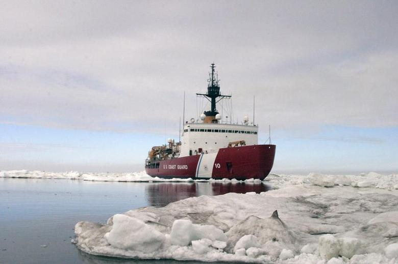 Polar Star, the U.S. Coast Guard icebreaker, completes ice drills in the Arctic in this July 3, 2013 handout photo. REUTERS/U.S. Coast Guard/Petty Officer 3rd Class Rachel French/Handout via Reuters