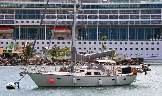 Sailboat Magnetic Attraction, belonging to British couple Roger and Margaret Pratt, sits in Ganter's Bay just off a police base at Castries Harbour in St. Lucia January 20, 2014. REUTERS/Isabelle Sankar