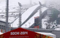 A general view of the Russki Gorki Ski Jumping Center in Krasnaya Polyana near Sochi January 21, 2014. REUTERS/Alexander Demianchuk