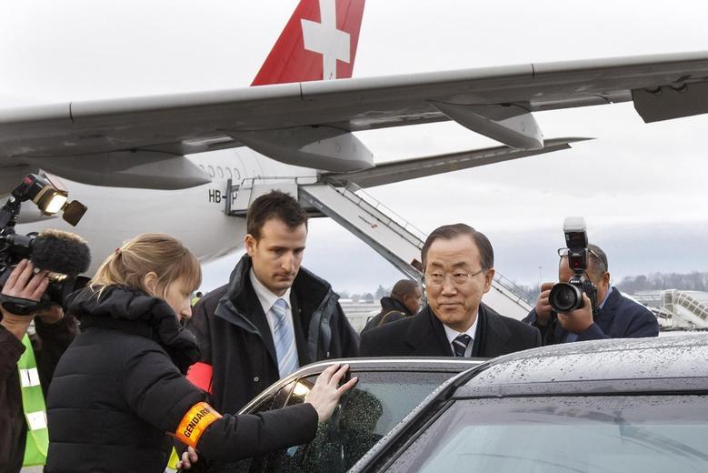 U.N. Secretary-General Ban Ki-moon arrives ahead of the Geneva-2 conference, at Geneva International Airport January 21, 2014. REUTERS/Salvatore Di Nolfi/Pool