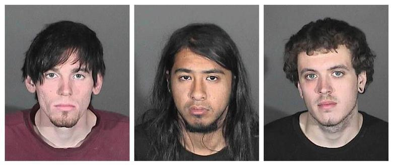 Jonathan Carl Jarrell (L), Steven Robert Aguirre (C) and Clifford Eugene Henry Jr. are seen in a combination picture of Glendora Police Department booking photos released in Glendora, California January 16, 2014. REUTERS/Glendora Police Department/Handout via Reuters