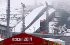 A general view of the Russki Gorki Ski Jumping Center in Krasnaya Polyana near Sochi January 21, 2014. Sochi will host the 2014 Winter Olympic Games from February 7 to 23. REUTERS/Alexander Demianchuk