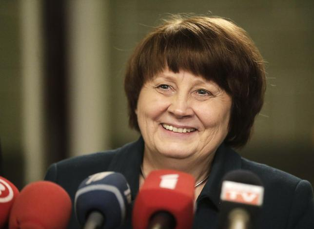 Long-time civil servant Laimdota Straujuma, who was nominated as Latvia's prime minister, smiles as she speaks to the media during a news conference in Riga January 6, 2014. REUTERS Ints Kalnins