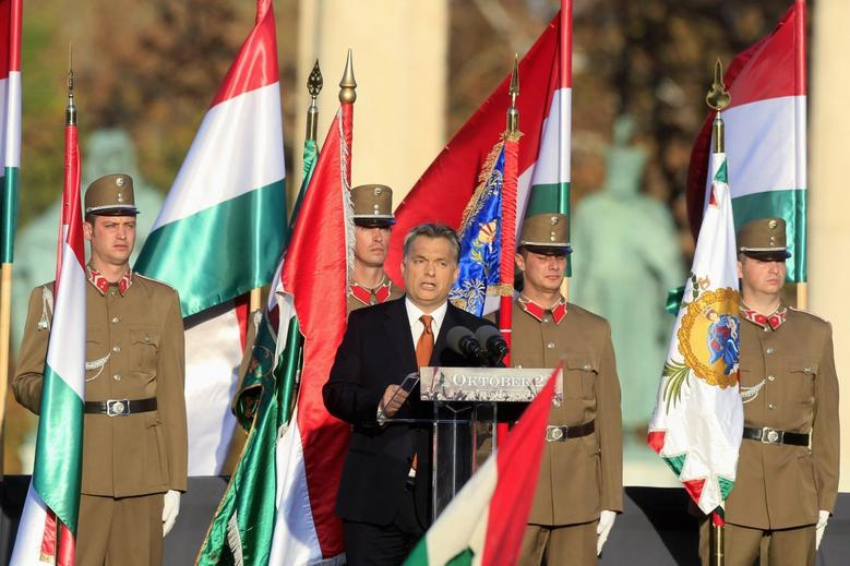 Hungarian Prime Minister Viktor Orban delivers his speech at the Heroes Square in Budapest, October 23, 2013, as Hungary commemorates the 57th anniversary of their revolution against Soviet rule. REUTERS/Bernadett Szabo
