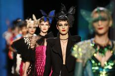 Models present creations by French designer Jean Paul Gaultier as part of his Haute Couture Spring/Summer 2014 fashion show in Paris January 22, 2014. REUTERS/Benoit Tessier