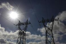 La consommation française d'électricité s'est maintenue en 2013 à un niveau proche de 480 térawattheures (TWh) à données comparables avec une stabilisation chez les particuliers et une baisse dans l'industrie, selon un bilan de RTE, l'opérateur du réseau de transport d'électricité français. /Photo prise le 29 juillet 2013/REUTERS/Pascal Rossignol