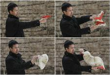 A combination picture shows Chinese artist Li Hongbo playing with a paper sculpture of gun, made of 300 pieces of paper, at his studio on the outskirts of Beijing, January 20, 2014. REUTERS/Jason Lee