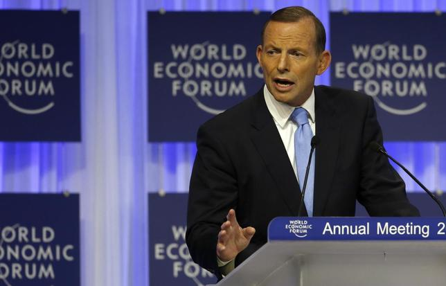 Australia's Prime Minister Tony Abbott speaks during a session at the annual meeting of the World Economic Forum (WEF) in Davos January 23, 2014. REUTERS/Ruben Sprich