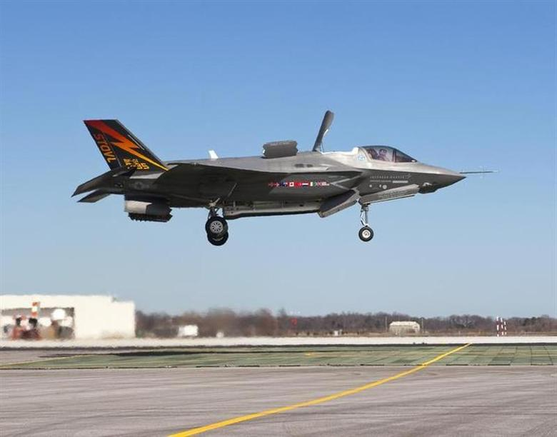 The supersonic Lockheed Martin F-35B Lightning II stealth fighter, piloted by Graham Tomlinson, lands vertically for the first time at Naval Air Station Patuxent River, Maryland on March 18, 2010. REUTERS/Andy Wolfe/Lockheed Martin/Handout