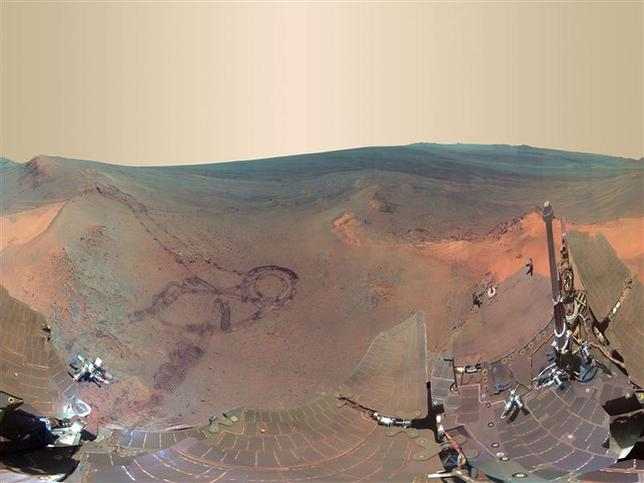 A 360-degree digitally-compressed panorama image of Mars is seen in this composite of 800 images sent from the NASA Opportunity rover on Mars released on July 9, 2012. REUTERS/NASA/JPL-Caltech/Cornell/Arizona State University/Handout