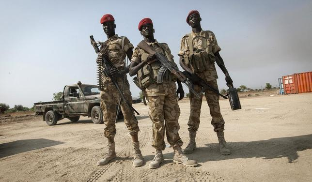 SPLA soldiers secure Bor airport, 200 km (124 miles) north of Juba, a day after its recapture by government SPLA forces January 19, 2014. REUTERS/George Philipas