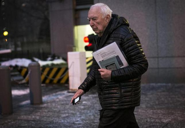 Contemporary artist Jasper Johns exits the Manhattan Federal Courthouse in New York January 23, 2014. REUTERS/Brendan McDermid