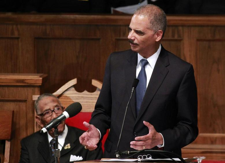 U.S. Attorney General Eric H. Holder speaks during the Community Memorial Service at 16th Street Baptist Church in Birmingham, Alabama September 15, 2013 file photo. REUTERS/Marvin Gentry