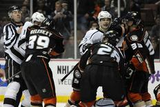 Jan 23, 2014; Anaheim, CA, USA; Anaheim Ducks and Los Angeles Kings fight during the third period at Honda Center. The Ducks won 2-1. Mandatory Credit: Kelvin Kuo-USA TODAY Sports