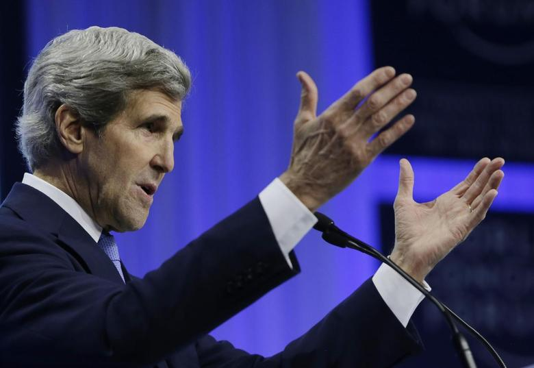 U.S. Secretary of State John Kerry delivers his speech at the World Economic Forum in Davos, Switzerland January 24, 2014. Kerry returns to the United States tomorrow. REUTERS/Gary Cameron