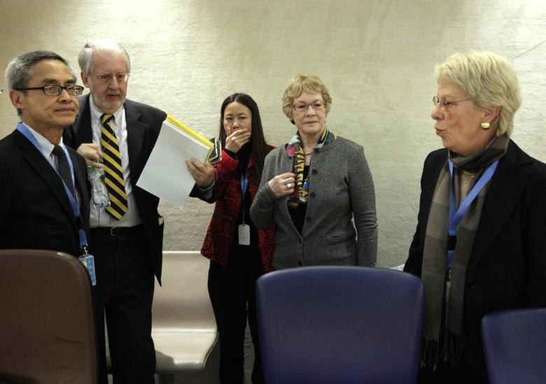 Chair of the Commission of Inquiry on Syria Paulo Pinheiro (2L) arrives with members Carla del Ponte (R) Karen Koning Abuzayd (2R) and Vitit Muntarbhorn (L) before their report to the Human Rights Council at the United Nations in Geneva March 11, 2013. REUTERS/Denis Balibouse